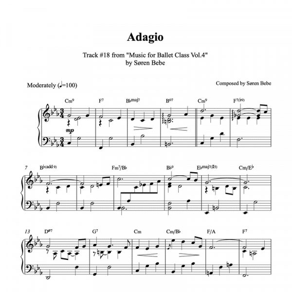 piano sheet music for ballet class adagio exercise by søren bebe pdf download