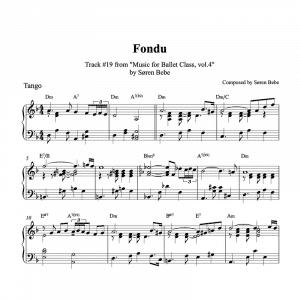 tango inspired piano sheet music for ballet class fondu exercise