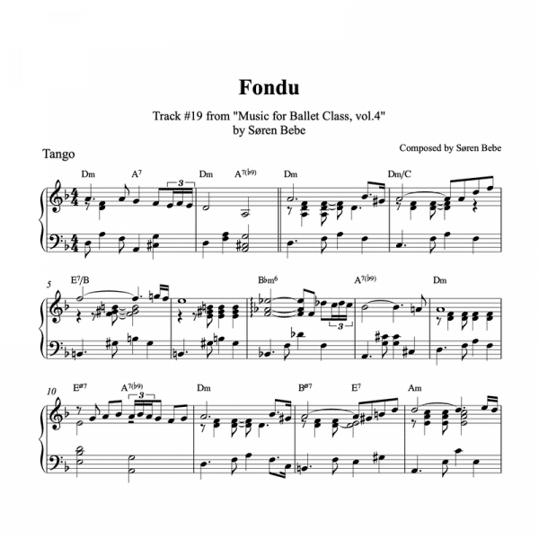 tango inspired piano sheet music for ballet class fondu exercise