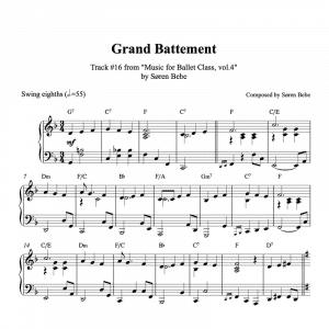 ballet class piano sheet music for grand battement waltz