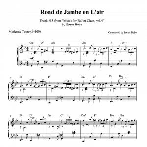 ballet class piano sheet music for a rond de jambe en l'air exercise