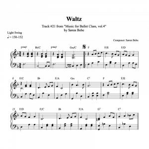 piano sheet music for ballet class waltz