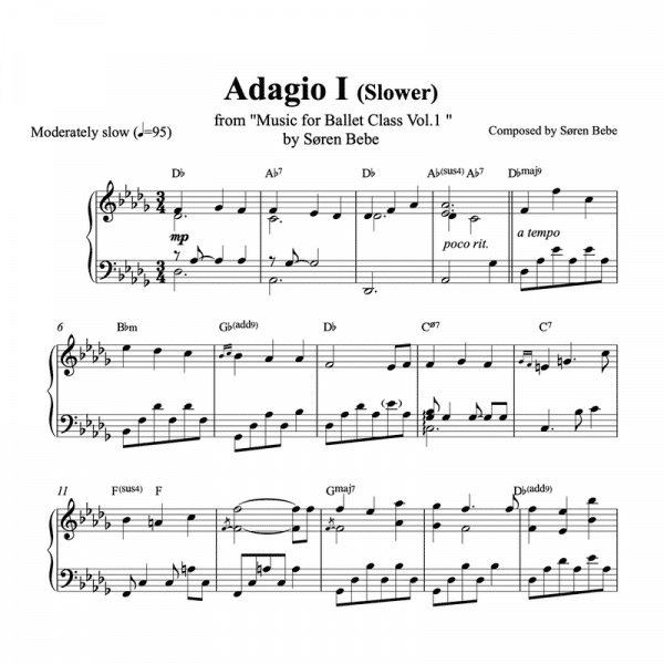 adagio 1 slow ballet class piano sheet music pdf