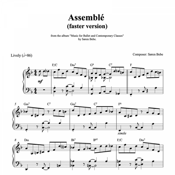 ballet class piano sheet music for a fast assemble in latin style