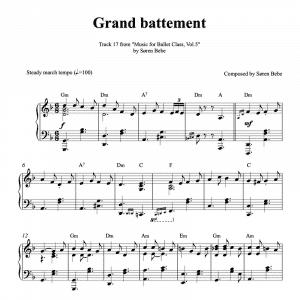 grand battement piano sheet music for ballet class