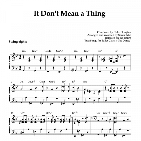 it don't mean a thing if it ain't got that swing piano sheet music pdf