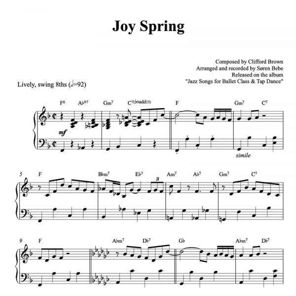 joy spring clifford brown piano sheet music pdf