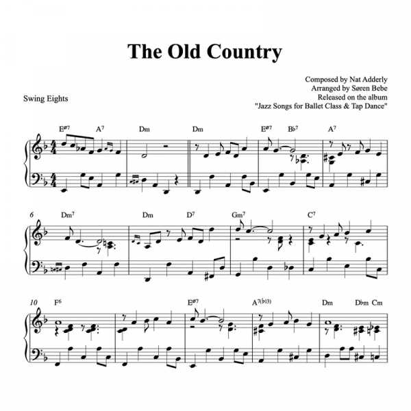 piano pdf sheet music for the song the old country by nat adderly