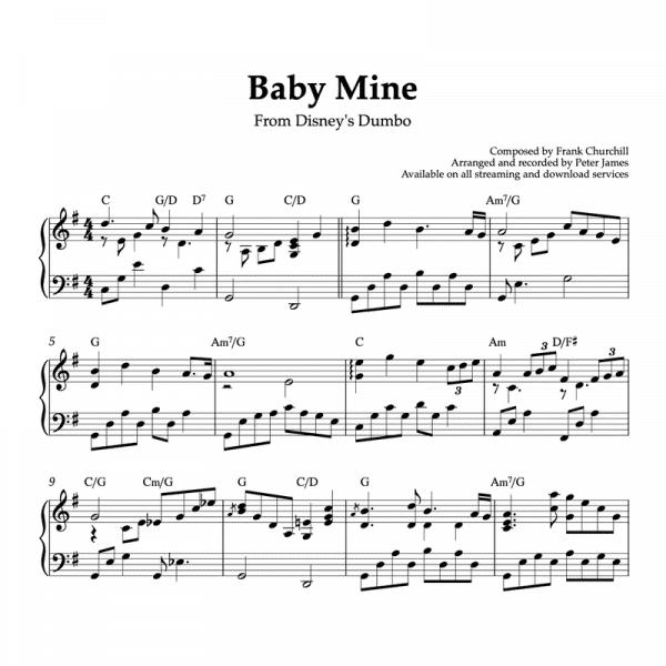 Piano sheet music for baby mine from disneys dumbo movie