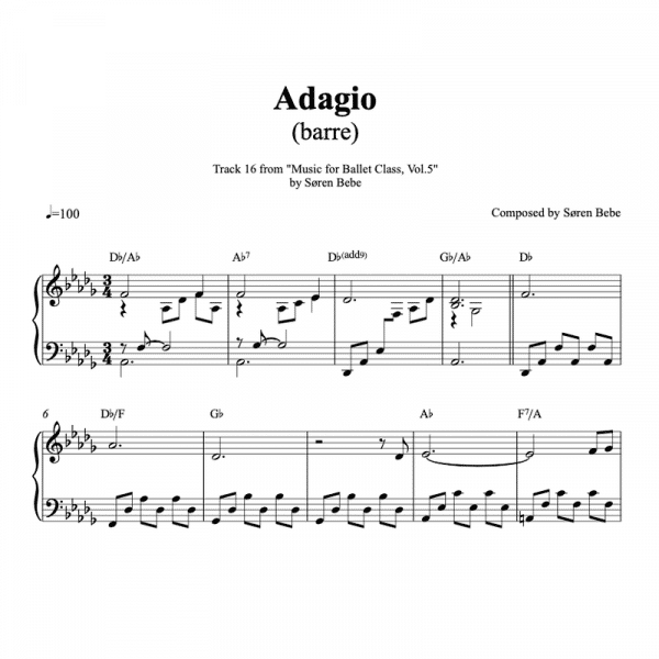 piano sheet music for adagio barre exercise