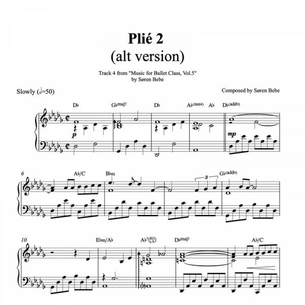 piano sheet music for ballet class plie exercise