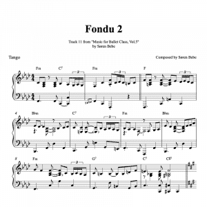 Fondu tango piano sheet music for ballet class