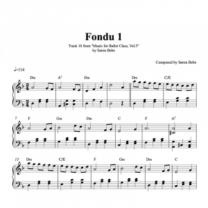 fondu 1 piano sheet music for ballet class