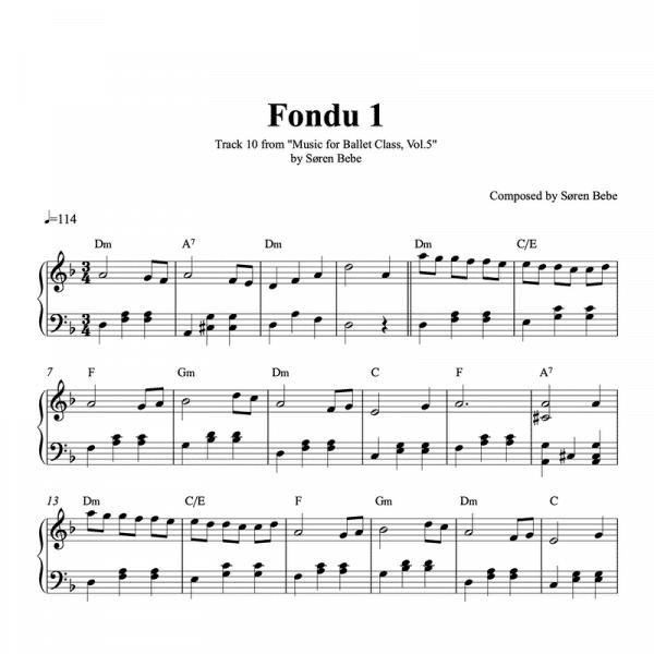 fondu 1 piano sheet music for ballet class