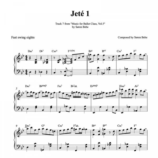 jete 1 piano sheet music for ballet class pdf