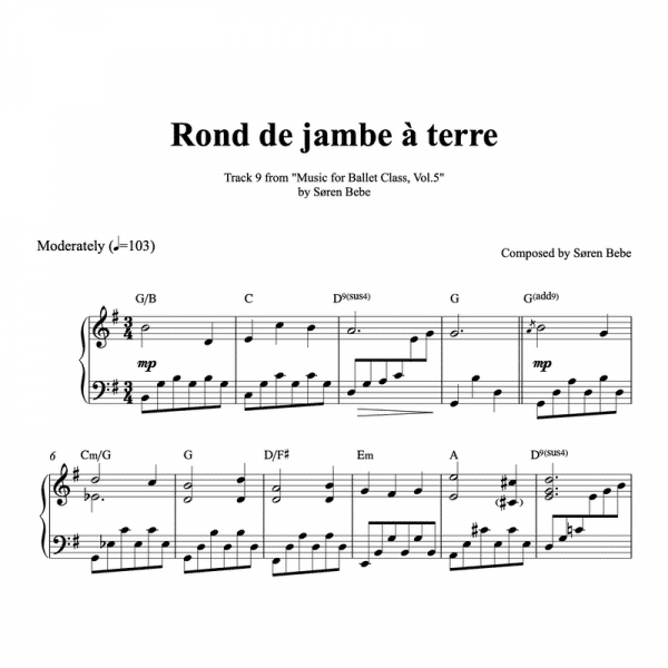 rond de jambe a terre piano sheet music for ballet class
