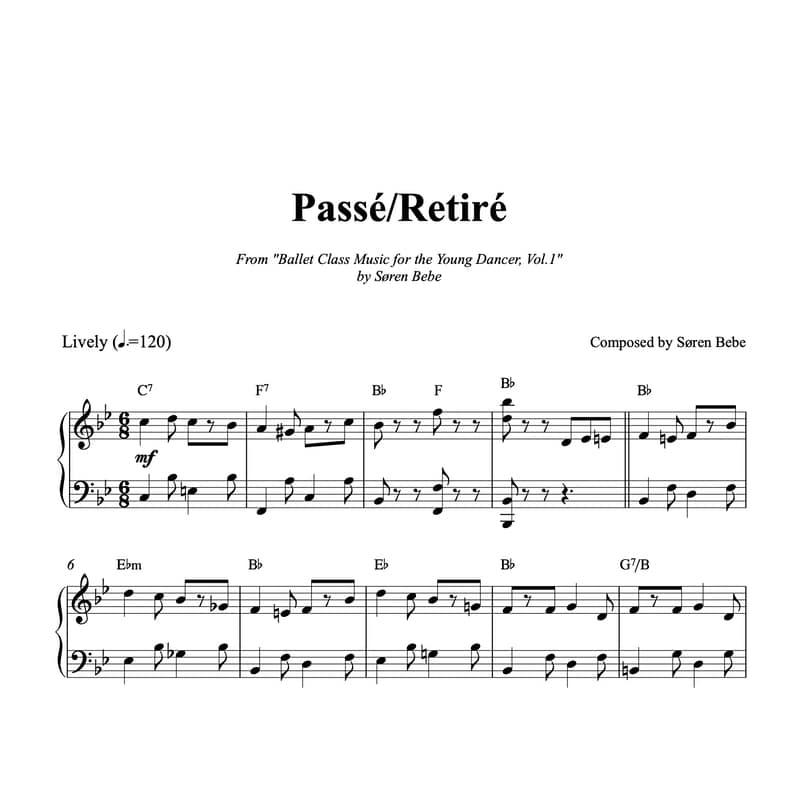 Passé Retiré sheet music for children ballet