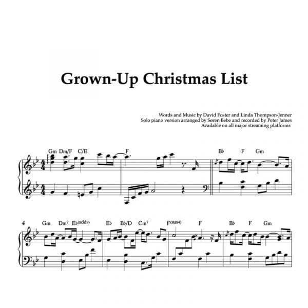 piano christmas sheet music for the song grown up christmas list