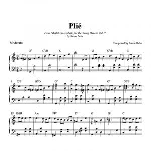 Plié piano sheet music for kids ballet class.