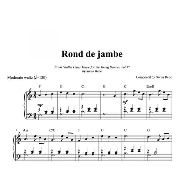 piano score for rond de jambe for kids