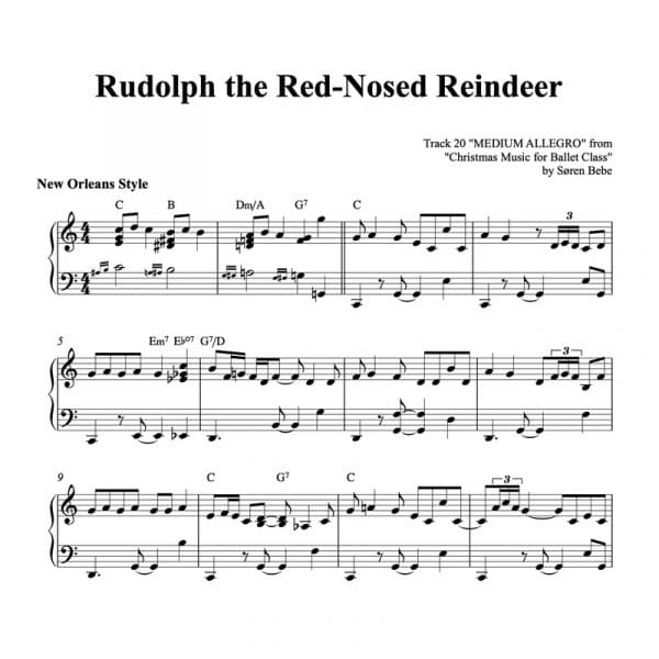piano sheet music for rudolph the red-nosed reindeer