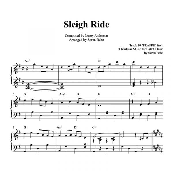 piano sheet music for the Christmas carol Sleigh Ride