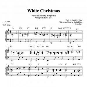 piano sheet music for the Christmas song White Christmas in a slow tango version for ballet class fondu exercise