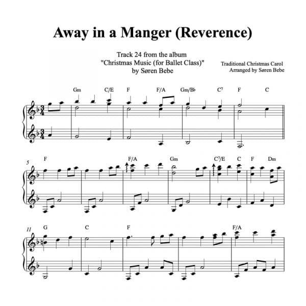 away in a manger piano sheet music