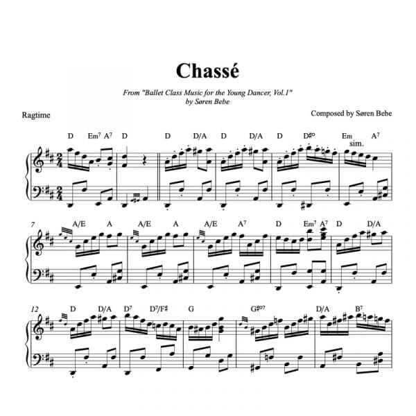 piano sheet music for chasses kids ballet class