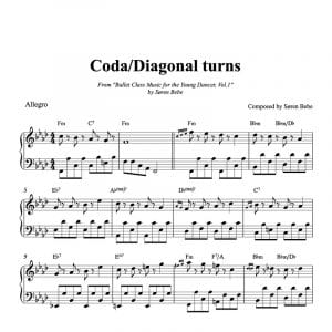 ballet class sheet music for coda diagonal turns