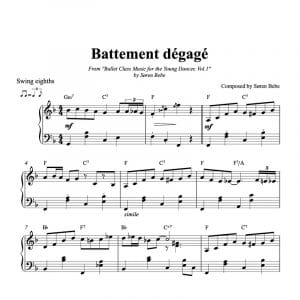 piano score for battement degage
