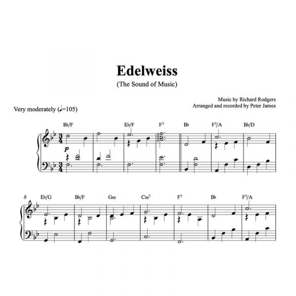 piano sheet music for edelweiss from the sound of music