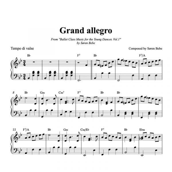 ballet class sheet music for grand allegro