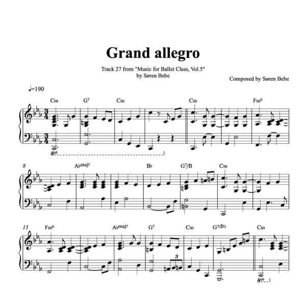 piano sheet music for grand allegro big waltz