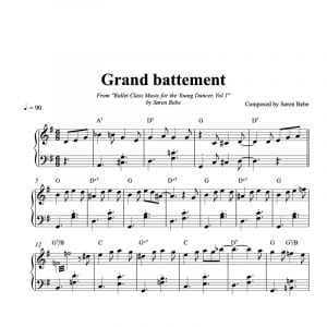 Grand battement sheet music for children's ballet class pdf download
