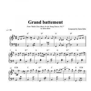 Grand battement sheet music for children's ballet class pdf download