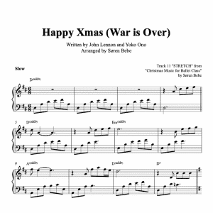 "piano sheet music for the song ""Happy Wmas war is over"" by John lennon and Yoko Ono"