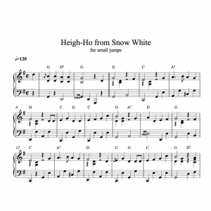 piano sheet music for heigh ho from Snowwhite by Disney arranged for ballet class