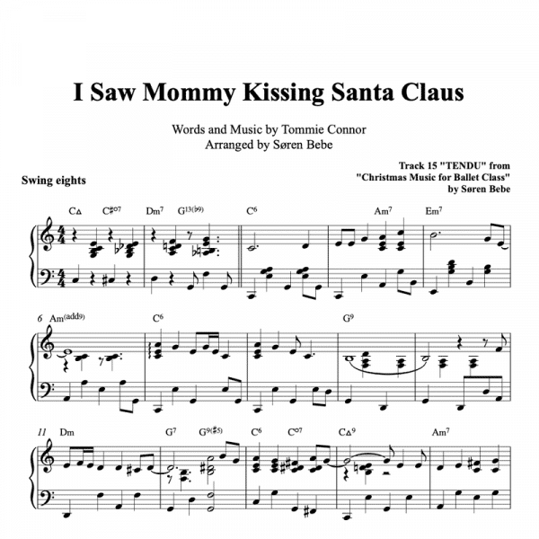 piano sheet music for the christmas song I saw mommy kissing santa claus