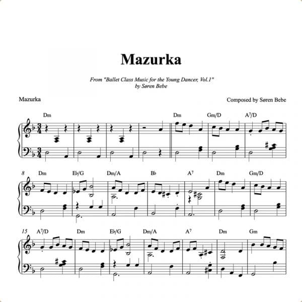 ballet class sheet music for a mazurka
