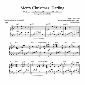"piano sheet music for the song ""Merry Christmas, Darling"" by the Carpenters"