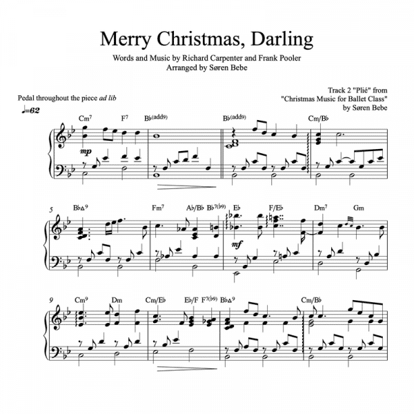 """piano sheet music for the song """"Merry Christmas, Darling"""" by the Carpenters"""