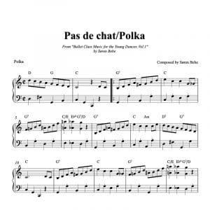 ballet class sheet music for pas de chat polka