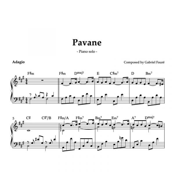 piano sheet music for pavane by pauré for ballet class adagio