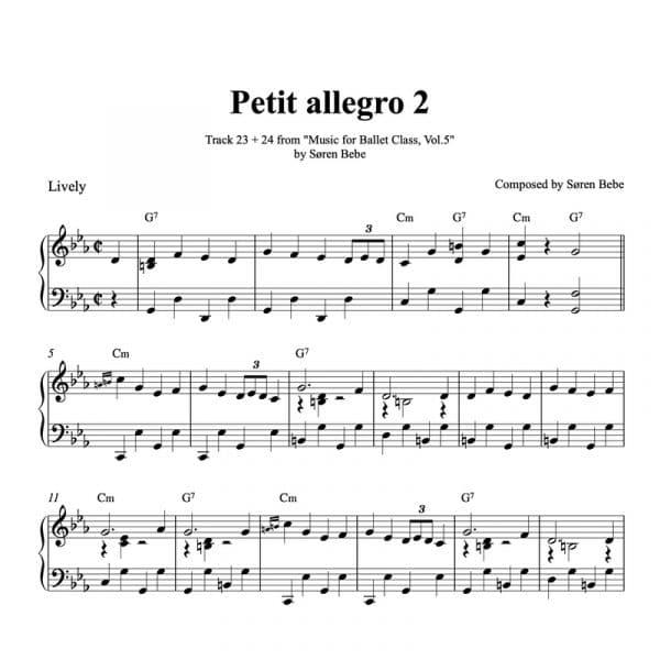 petit allegro ballet class sheet music