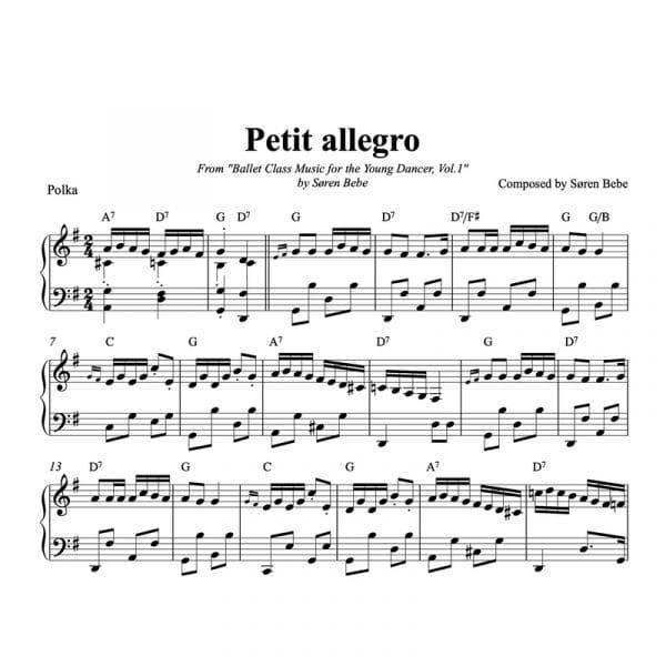 ballet class sheet music for petit allegro kids music
