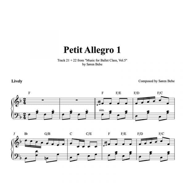 ballet class sheet music for petit allegro polka