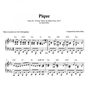 pique piano sheet music