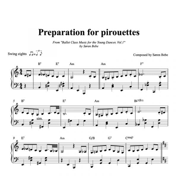 piano sheet music for children's ballet class preparation for pirouettes