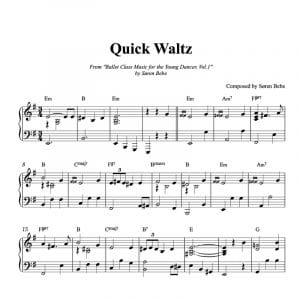 piano ballet class sheet music for a quick waltz